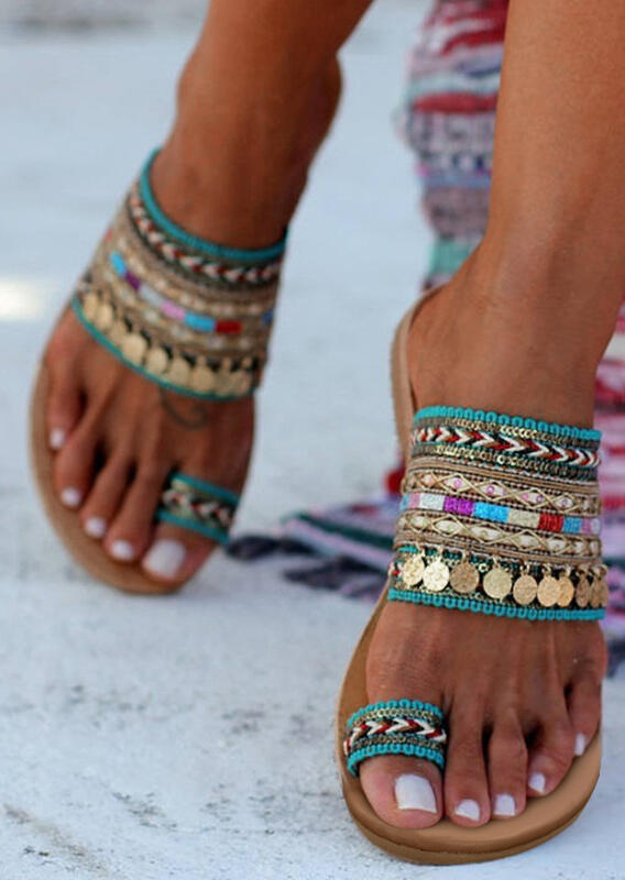 Sandals Bohemian Sequined Flat Sandals - Multicolor in Multi. Size: 38,39,40,41,42