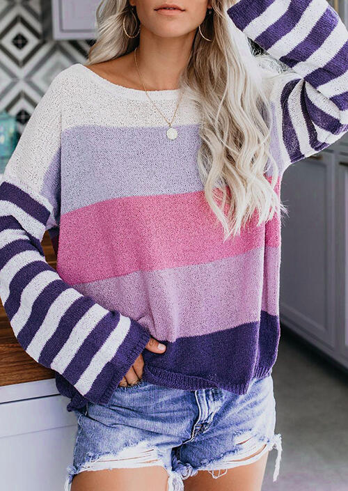 Sweaters Striped Color Block Long Sleeve Sweater in Purple. Size: S,M,L,XL