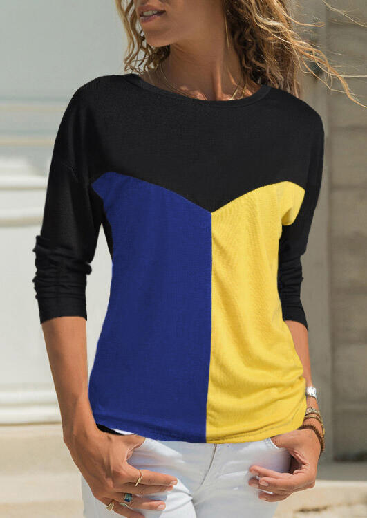 Tees T-shirts Color Block Splicing O-Neck T-Shirt Tee without Necklace in Blue. Size: S,2XL,3XL
