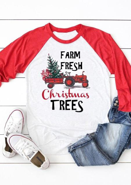 Farm Fresh- Tractor- Country Style Christmas Tee