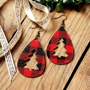 Buffalo Plaid Punched Leather Earrings