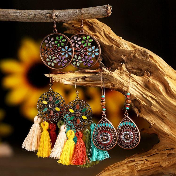 Earrings 3 Pairs/Set Braided Tassel Pendant Vintage Earrings in #1. Size: One Size