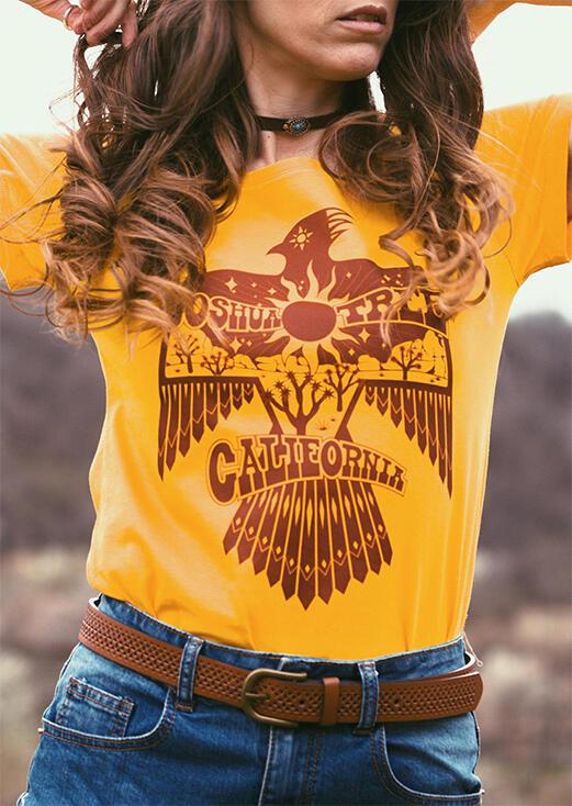 Tees T-shirts Joshua Tree Thunderbird T-Shirt Tee without Choker in Yellow. Size: M,L,XL
