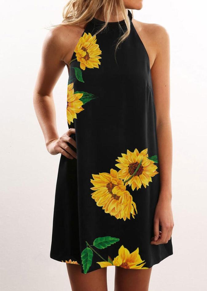 Mini Dresses Sunflower Halter Casual Mini Dress in Black. Size: S,M,L,XL,2XL,3XL