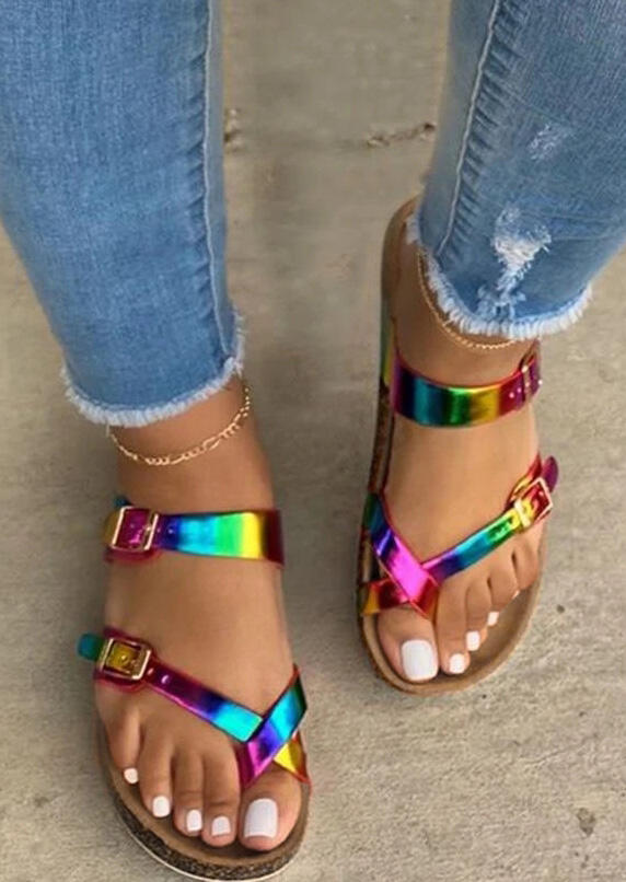 Sandals Colorful Criss-Cross Buckle Strap Flat Sandals in Multi. Size: 37,38,39,40,41