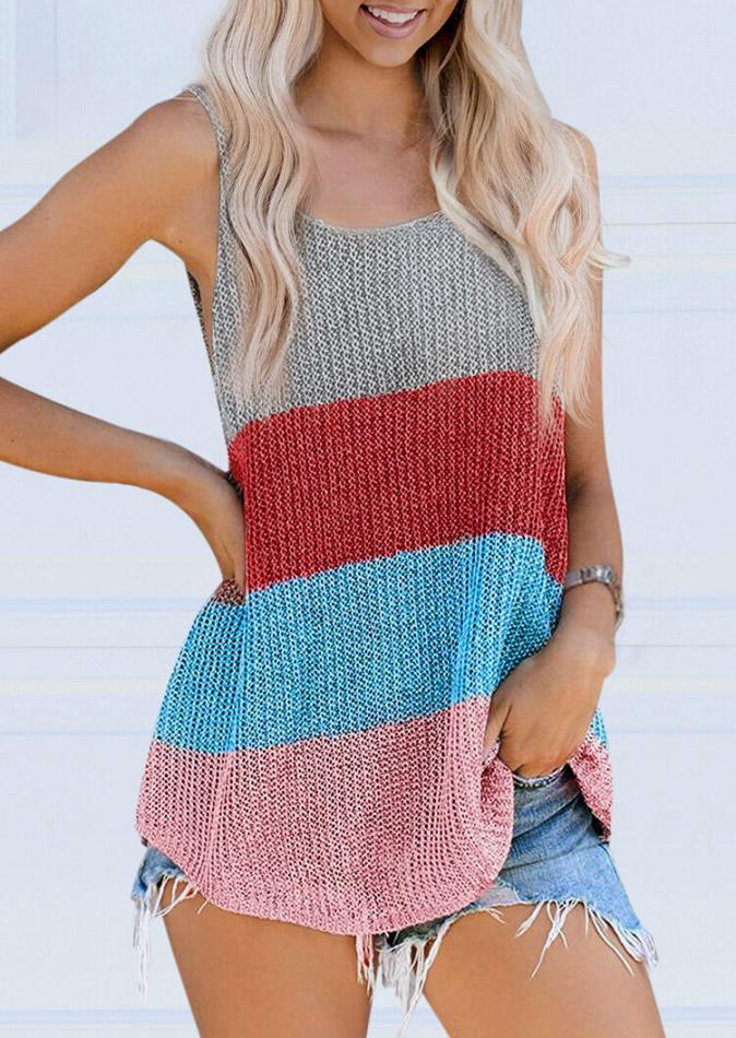 Tank Tops Color Block Knitted O-Neck Camisole in Multicolor. Size: S,M,L,XL