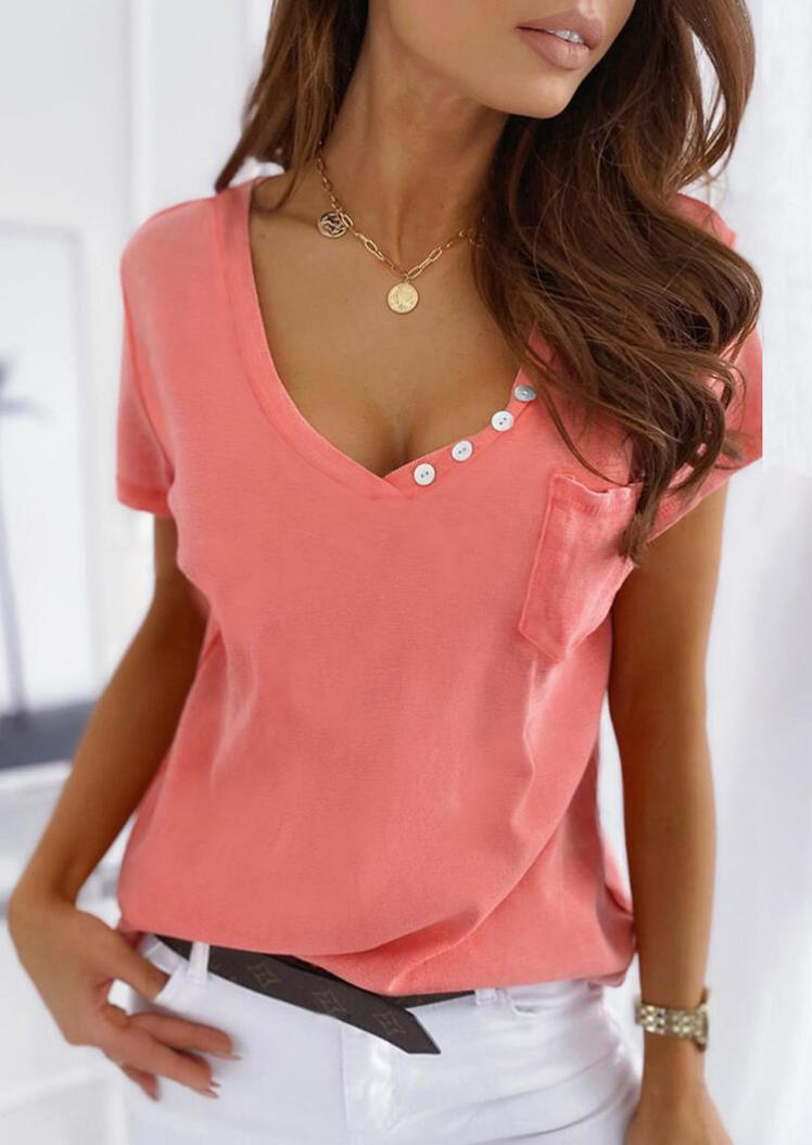 Blouses Button Pocket Blouse without Necklace in Watermelon Red. Size: S,M,L