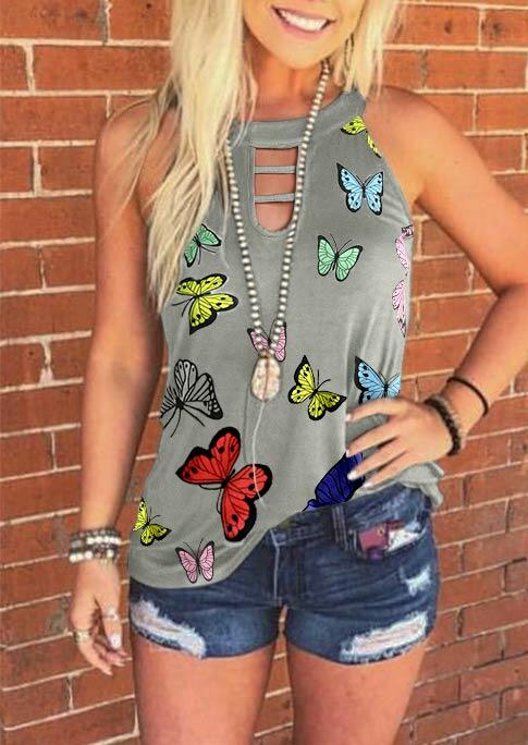 Tank Tops Butterfly Hollow Out Halter Tank without Necklace in Gray. Size: S,M,L,XL