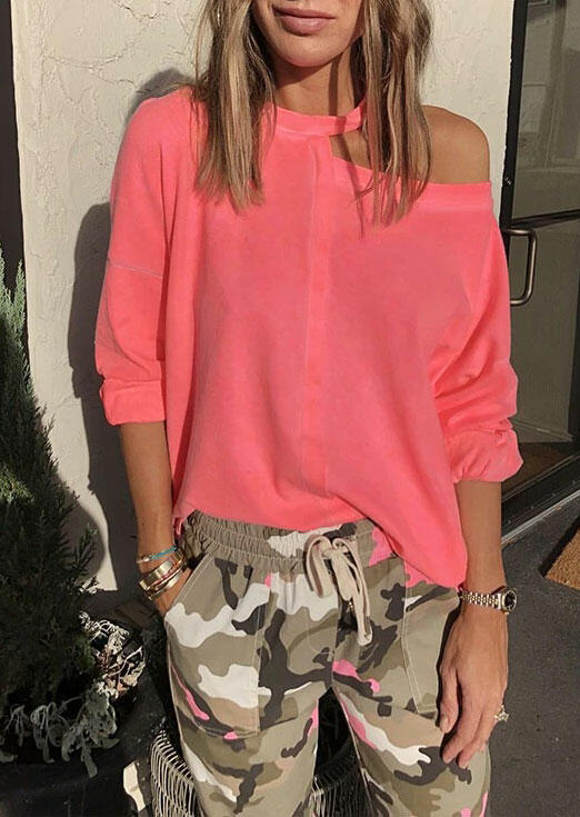 Blouses Hollow Out One Shoulder Long Sleeve Blouse in Pink. Size: S,M,L,XL