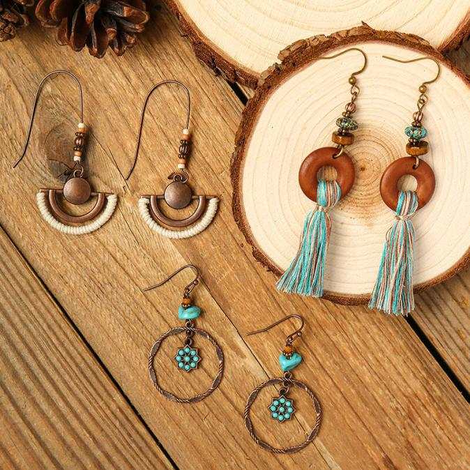 Earrings 3 Pairs Bohemian Tassel Hollow Out Beading Earrings Set in Multicolor. Size: One Size
