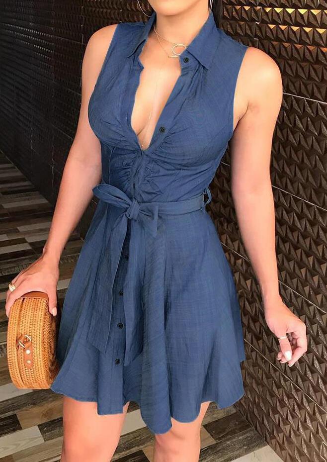 Mini Dresses Ruffled Button Deep V-Neck Mini Dress in Blue. Size: S,M,L