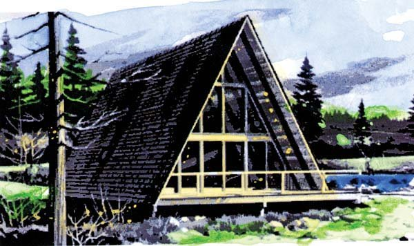 Elevation of A-Frame   Narrow Lot   Vacation   House Plan 57547