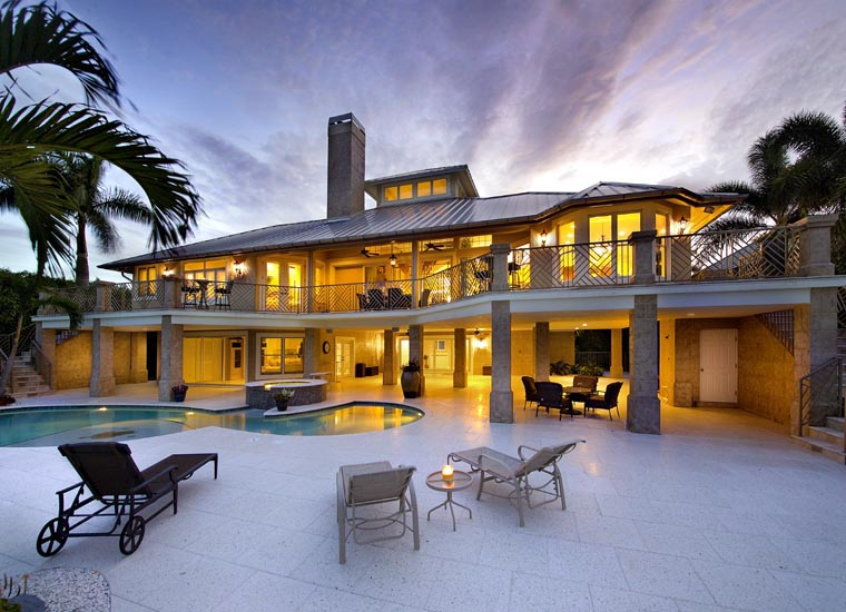 Coastal Contemporary Florida Mediterranean House Plan 71509