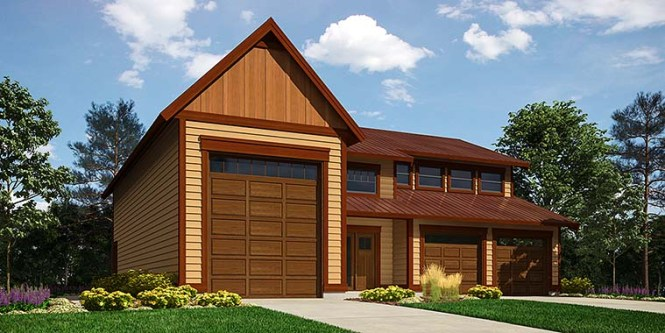 Traditional Style 3 Car Garage Apartment Plan Number 76061 With 1 Bed 2 Bath Rv Storage