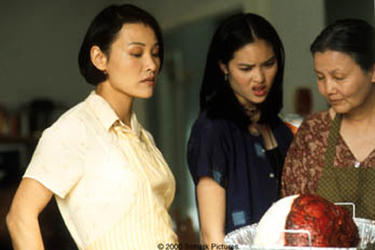 "Joan Chen as Trinh Hguyen, Kristy Wu as Jenny Nguyen (daughter) and Kieu Chinh as Grandma Nguyen in ""What's Cooking?"""