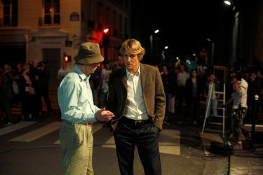 "Director Woody Allen and Owen Wilson on the set of ""Midnight in Paris."""