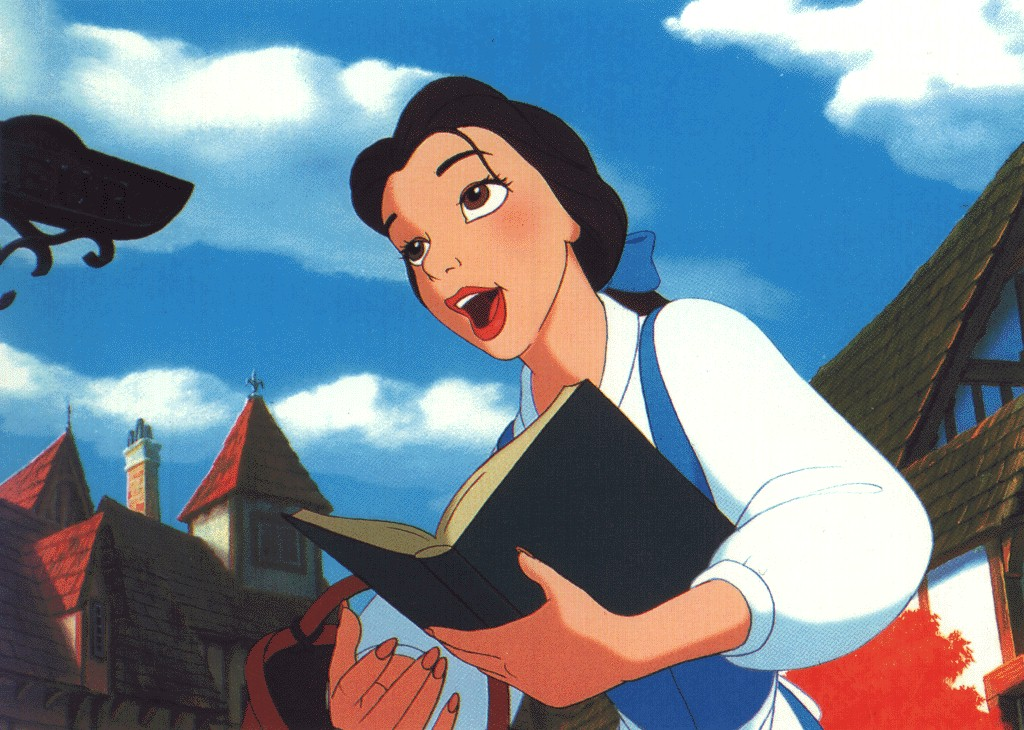 Belle from Beauty and the Beast with a book