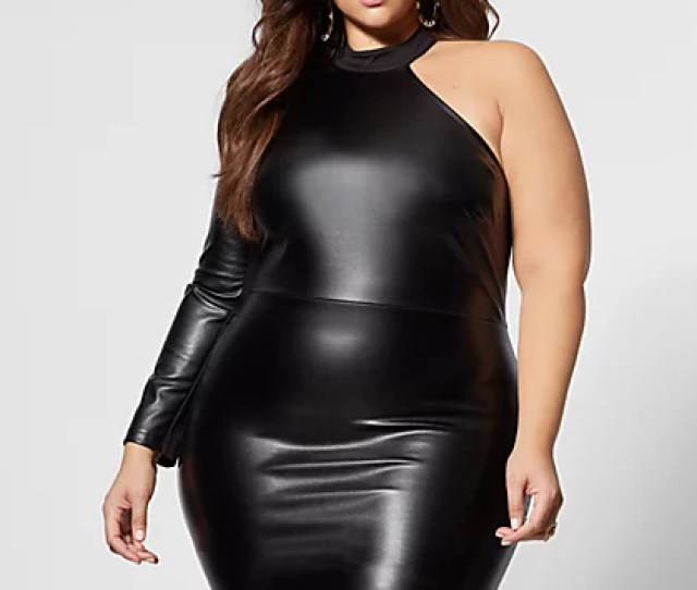 Plus Size Roxie Faux Leather Bodycon Dress Fashion To Figure