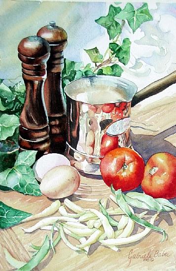 LeSaucier II by gabriele baber Watercolor ~ 9 x 12