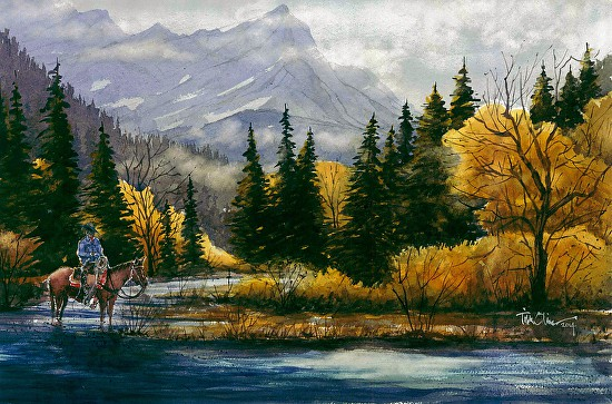 "Up Cottonwood Creek by Tim Oliver Watercolor ~ 15"" x 22"""
