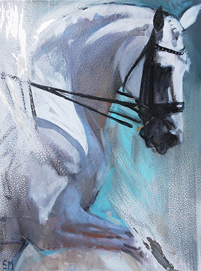 Grey Shadows & Green by Sally Martin oil over acrylic ~ 9.5inch x 7inch