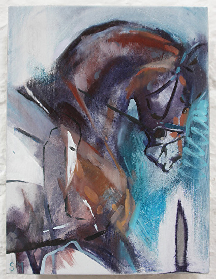 Bay Shadows & Green II by Sally Martin oil over acrylic ~ 9.5inch x 7inch