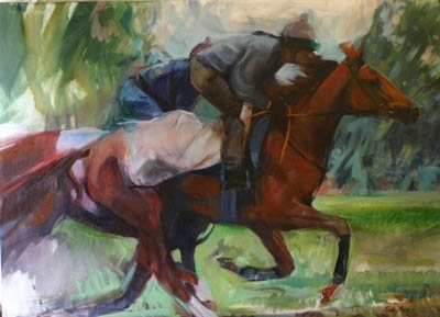 'Work Riders' by Sally Martin Oil ~ 28inch x 38inch