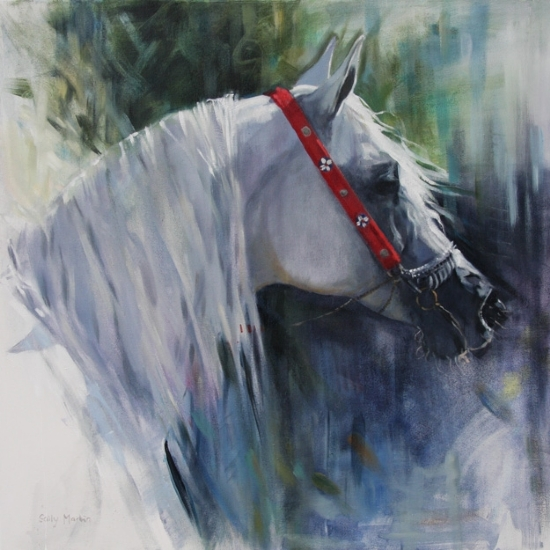 Distant Gaze by Sally Martin Oil ~ 26inch x 26inch