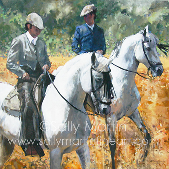 Domecq Vaqueros by Sally Martin Oil ~ 40inch x 40inch