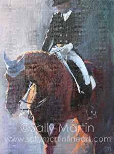 Exit on a Long Rein by Sally Martin Oil ~ 8inch x 6inch