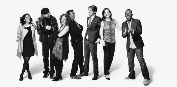 Members of Generation Flux can be any age and in any industry: From left, Raina Kumra, Bob Greenberg, danah boyd, DJ Patil, Pete Cashmore, Beth Comstock, and Baratunde Thurston. | Photo by Brooke Nipar