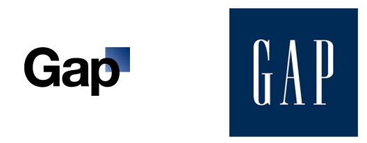 beloved GAP logo (left) and redesign (right)