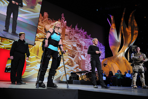 TED on stage with walker