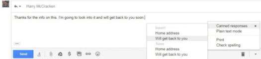 Gmail's Canned Responses feature, available in the Labs section of the website's settings, lets you create and insert templates for common responses.