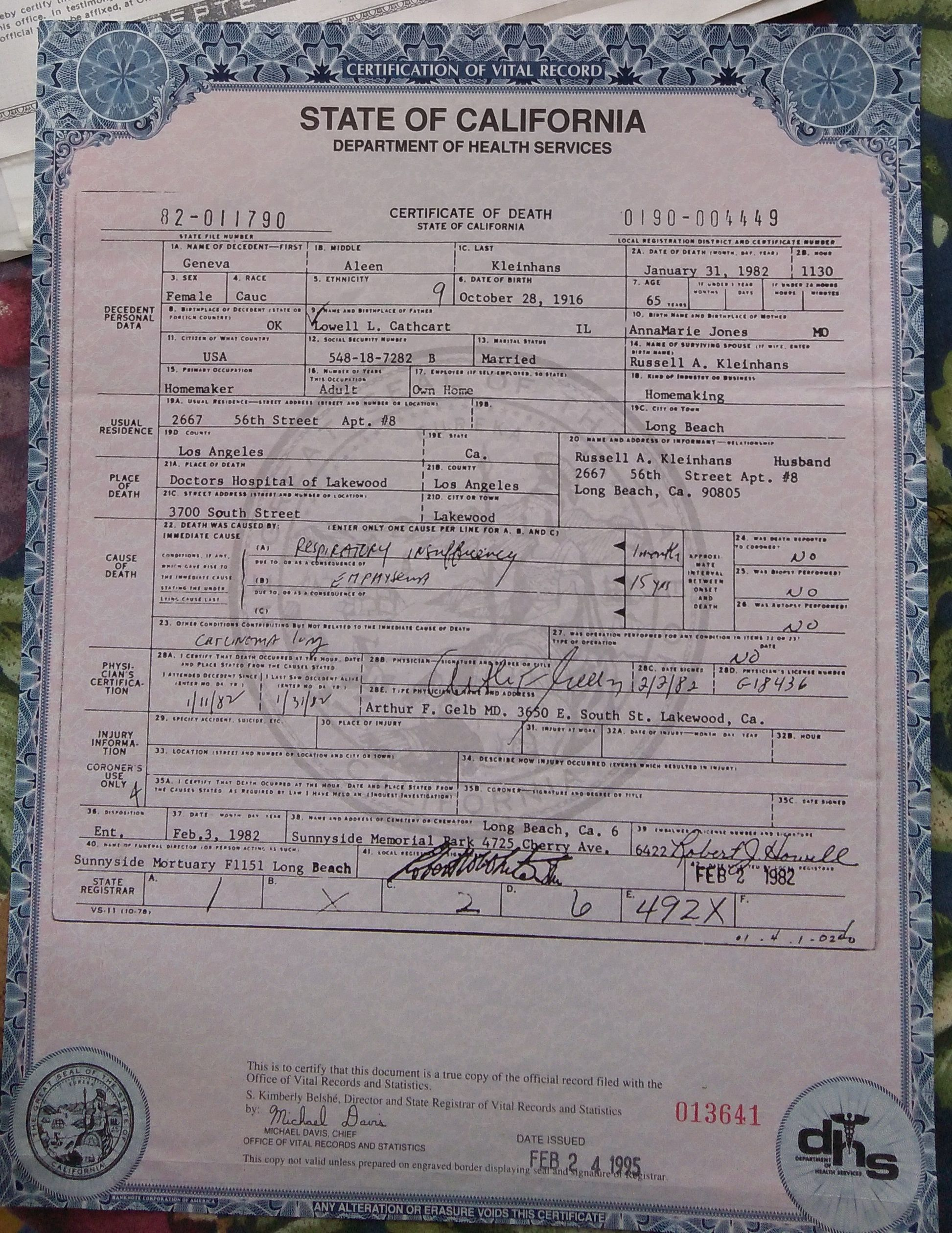 Colorado Birth Certificate