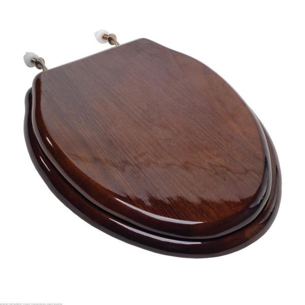 Elongated Wood Toilet Seat Nickel Hinges Dark Brown