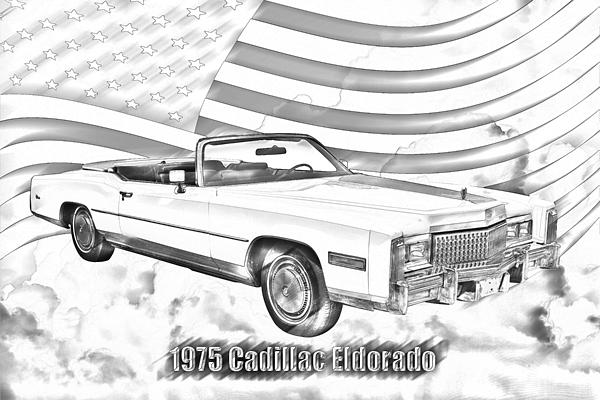 1975 Cadillac Eldorado Convertible Illustration by Keith
