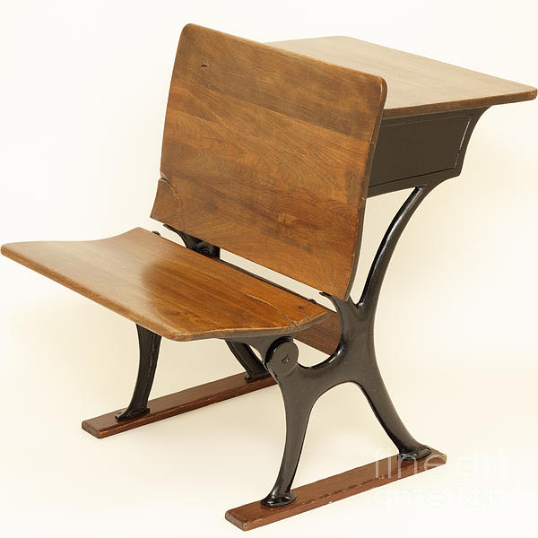 Antique School Chair And Desk Print By Lee Serenethos