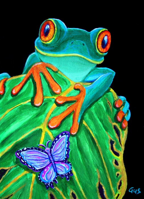 Redeyed Tree Frog And Butterfly by Nick Gustafson