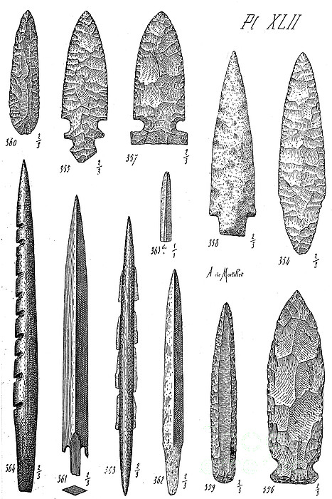 Stone Age Flint Tools, North American by Wellcome Images