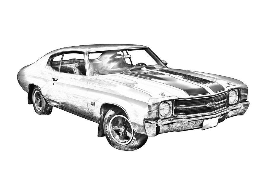 1971 Chevrolet Chevelle Ss Illustration Photograph by