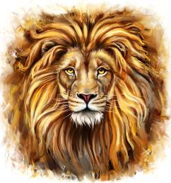 lion head in front painting by marcin moderski cute lion face clip art cute lion face [ 900 x 900 Pixel ]