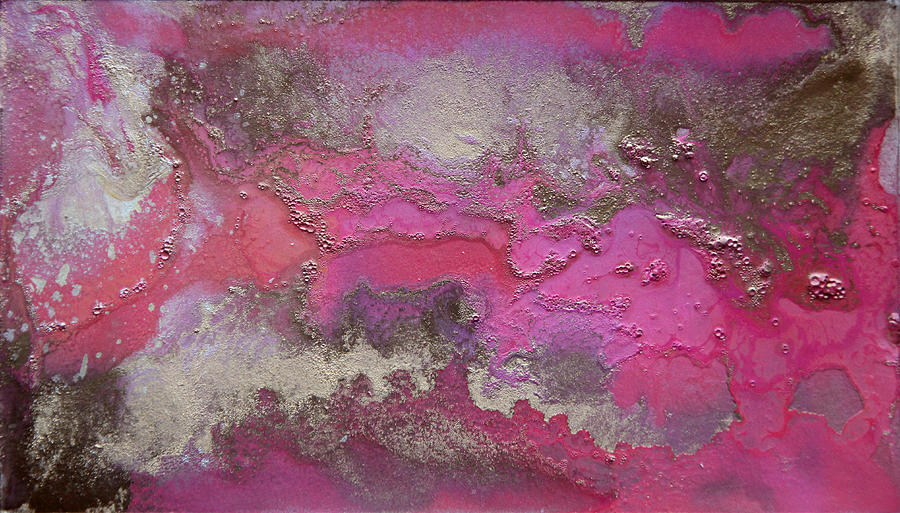 Pink And Gold Abstract Painting Painting By Julia Apostolova