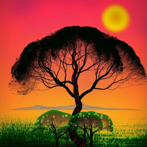 Black Tree - Algorithmic Art Digital Guojun Pan