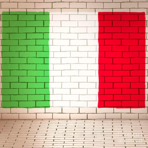 Italy Flag Brick Wall Background Jorgo - Art