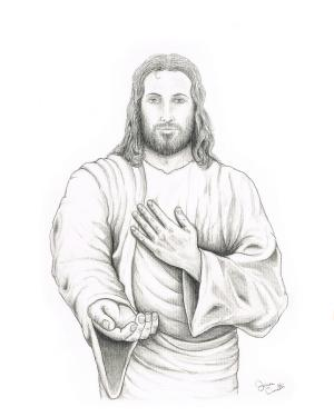 jesus drawings drawing pencil hand offering cianelli jaison christ sketches clipart artist christian clip portrait charcoal 15th uploaded november which
