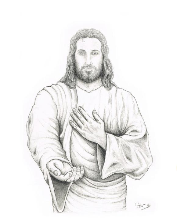Jesus Offering His Hand Drawing by Jaison Cianelli