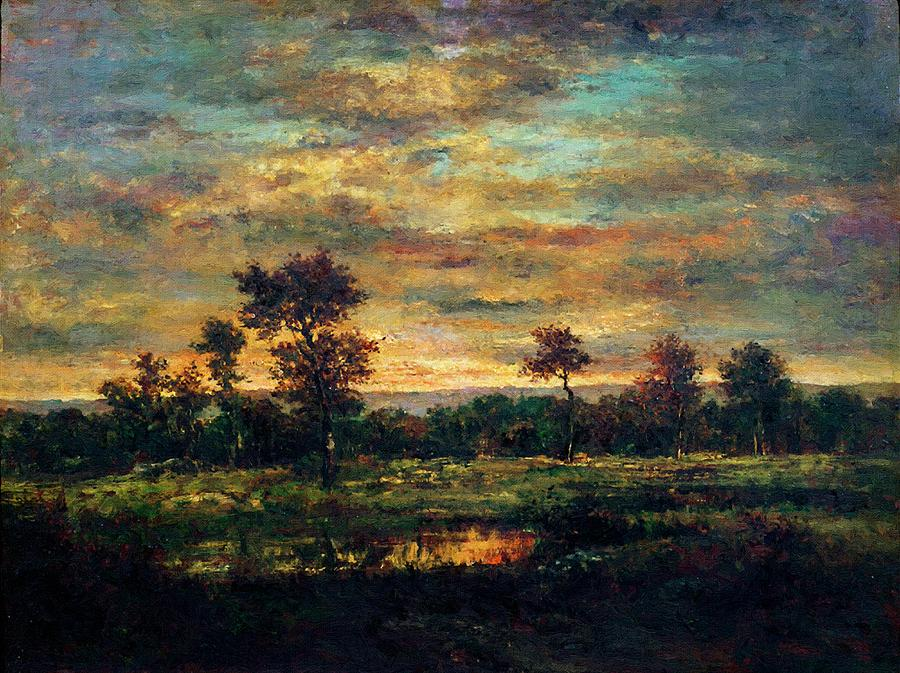 Pond At The Edge Of A Wood Painting by Theodore Rousseau