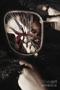 Woman With Broken Mirror And Shattered Reflection ...