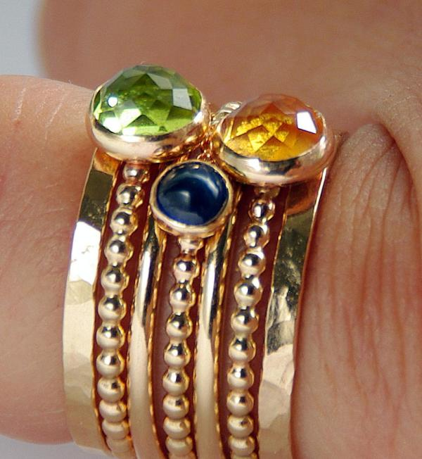 14k Gold Filled Peridot Citrine Sapphire Stackable Birthstones Mothers Rings Mommy Jewelry